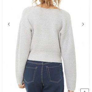 Forever 21 Sweaters - Forever 21 Gray Cropped Button Up Cardigan Sweater